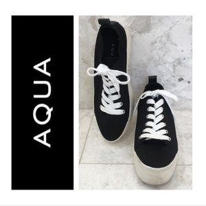 AQUA 9.5 Platform Sneakers Black White